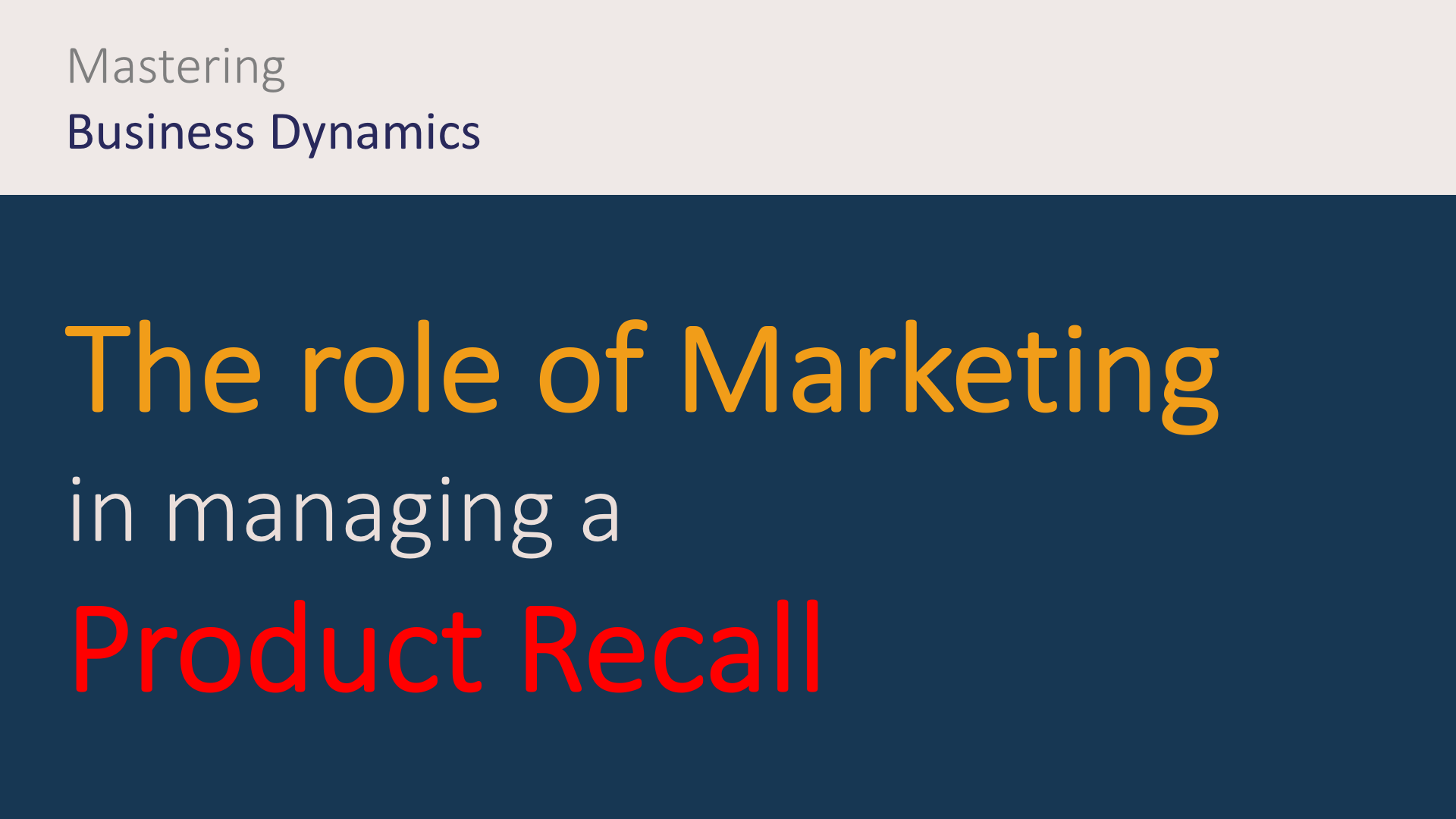 What is the role of marketing and communication in a product recall crisis?